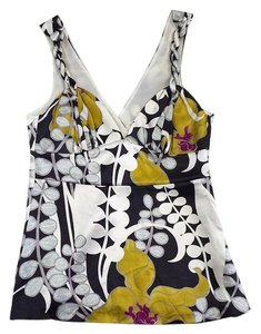 Trina Turk Multi Color Floral Silk Sleeveless Top