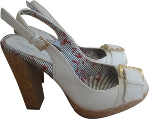 Charlotte Russe Chunky Heel Buckle white Pumps