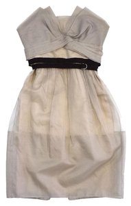 BCBGMAXAZRIA short dress Beige Belted Silk on Tradesy