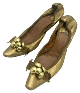 Chloé Chloe Kitten Heel Bows Bronze gold Pumps