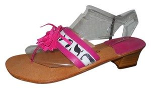 Sandalino Leather Fringe Thong pink, white & black Sandals