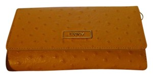 DKNY NWT - DKNY Donna Karan Tan Ostrich Leather Flap Front Continental Wallet