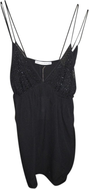Nellie Partow Beaded Sexy California Style Sheer Top Black