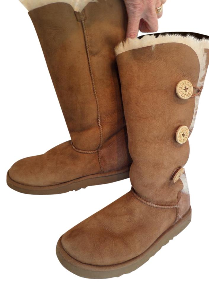 43cc98e7954 UGG Australia Brown 1873 Chestnut Bailey Button Triplet Suede Leather  Shearling Tall Boots/Booties Size US 10 Regular (M, B)