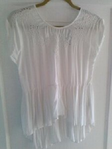 Love Stitch Chic Lightweight Bohemian Stitching Flowy Top White
