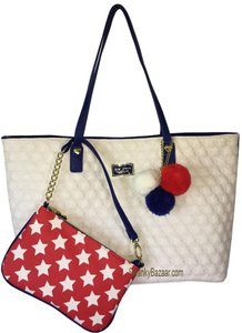 Betsey Johnson Tote in Bone, Blue, Red