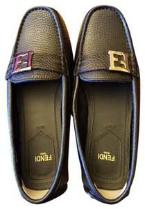 Fendi Drivers Moccasins Leather Ballet Black Flats