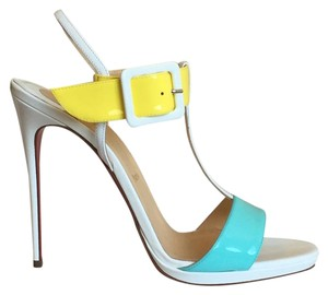 Christian Louboutin Sandal Colorblock Heels white yellow turquoise Sandals