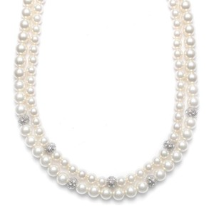 Mariell 2-row Ivory Pearl Bridal Neck With Cz Balls 3246n