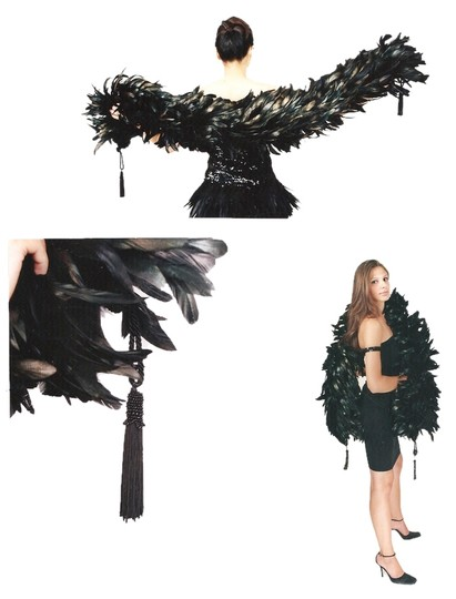 With Love Ari New Black Iridescent Gold Tipped Feather Boa w/Beaded Tassels