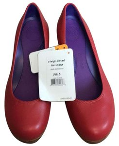 Crocs Red with wood wedge Wedges