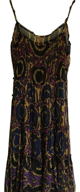 Item - Navy Purple Gold Mid-length Short Casual Dress Size 2 (XS)