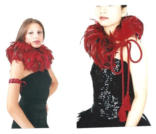 Preload https://item5.tradesy.com/images/red-with-black-feathers-new-neck-piece-braidedwith-tassel-ties-scarfwrap-1565699-0-0.jpg?width=440&height=440