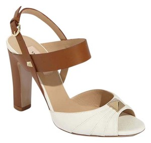Valentino Rockstud Studded White Brown Sandals