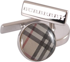 Burberry NEW BURBERRY MEN'S $165 NOVA CHECK ENAMEL ROUND CUFFLINKS