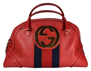 Gucci Blondie Bowler Gg Leather Satchel in Red