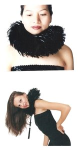 With Love Ari Jet Black Feather Neck Piece/ velvet ties & beaded Tassels