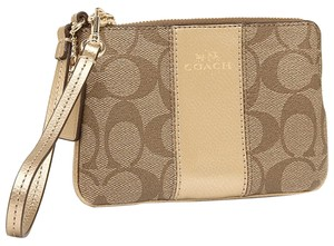 Coach Wristlet in Gold and PVC Signature Print