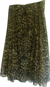 Coldwater Creek Dressy Night Out Comfortable Skirt Black with brown, black, white patterned overlay