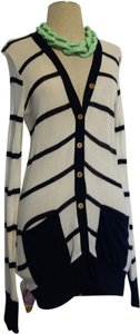 Crystal K Striped Stripes Navy Cardigan