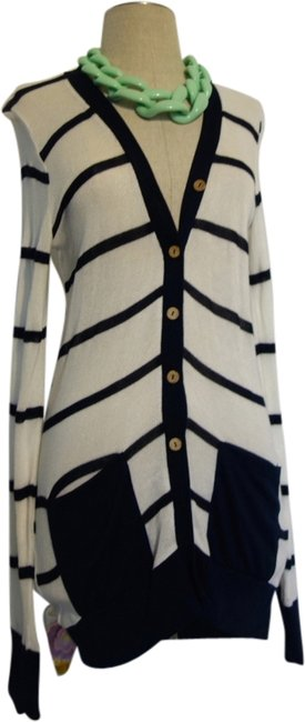 Crystal K Striped Stripes Navy White Navy And White Strip Winter Cold Soft Chic Cardigan