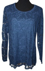 Chico's Lace Top Dark Blue