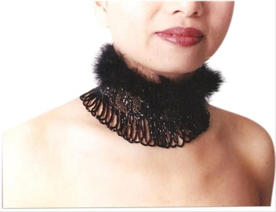 Preload https://item3.tradesy.com/images/black-feathers-with-black-and-bronze-beading-trim-soft-featherswith-unique-collar-scarfwrap-1565897-0-0.jpg?width=440&height=440