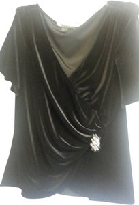 JS Boutique Velvet-like Material Dressy Classic Holiday Top Black