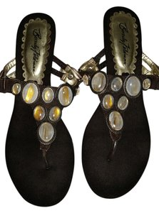 Beverly Feldman Brown with stones Sandals