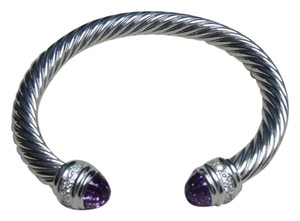 David Yurman 7mm Cable Classics Bracelet with Amethyst and Diamonds