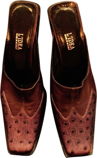 Lydia of Italy Lizard Ostrich Chunky Heel Purple Mules