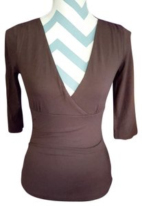 H&M Fitted Soft V-neck Top Brown