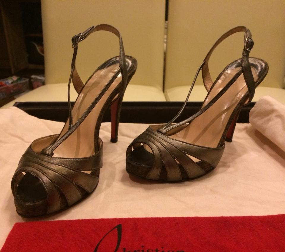 Strappy Christian Christian Pumps Pewter Louboutin Louboutin qIYH8wxvv