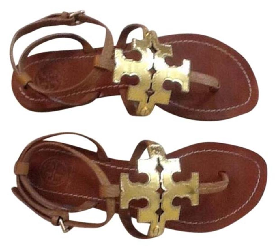 Tory Burch Brown and and Brown Gold Sandals 7cd067