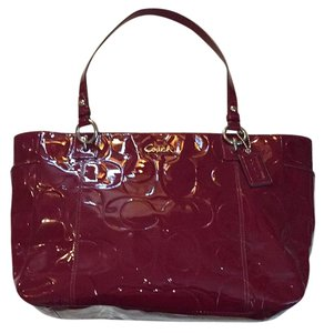 Coach Patent Leather Tote in Burgundy