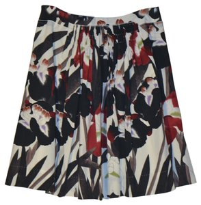 Elie Tahari Floral Pockets Lined Skirt Black, white, red print