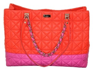Kate Spade Chain Leather Color Block Tote in flame and bougainvillea