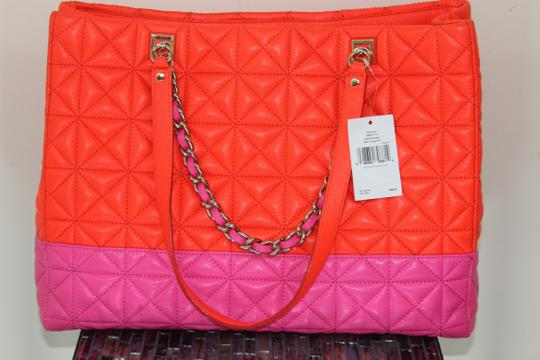 Kate Spade Leather Neon Quilted Bright Chain Tote in flame and bougainvillea