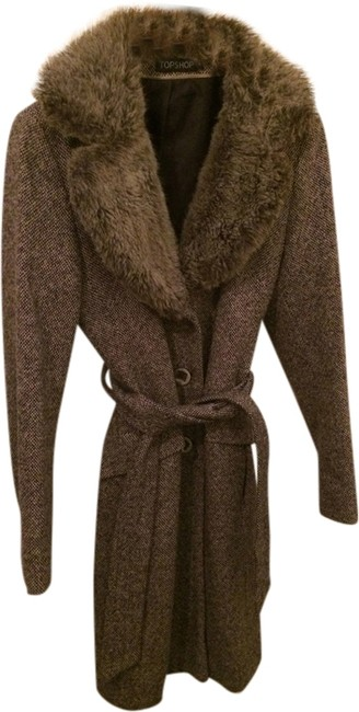 Topshop Faux Fur Trench Coat