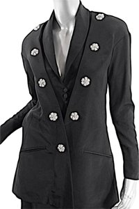Karl Lagerfeld KARL LAGERFELD Vintage Black Rayon Faille Skirt Suit w/Floral Brooches - US 6/8