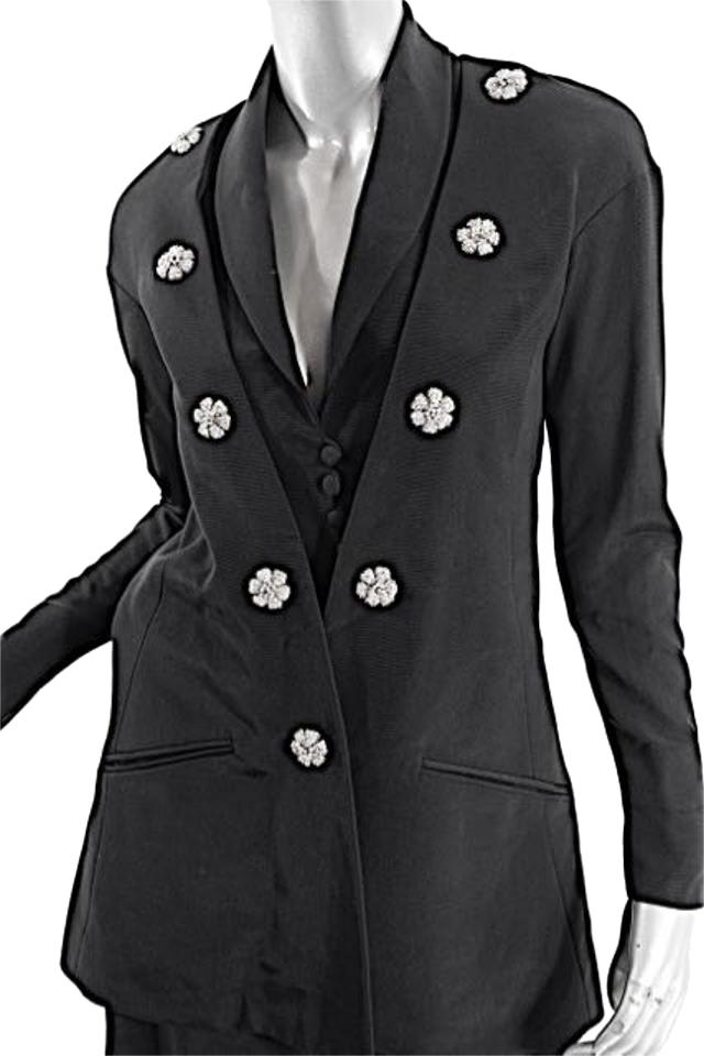Karl Lagerfeld Black Vintage Rayon Faille W/Floral Brooches - Us 6 ...