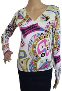 Emilio Pucci Longsleeve V-neck Print Logo Monogram Top White, Pink, Red