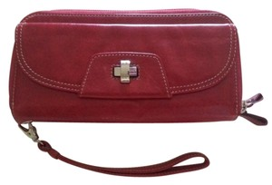 Levenger Wallet Leather Wallet Leather Clutch Leather Wristlet in Red