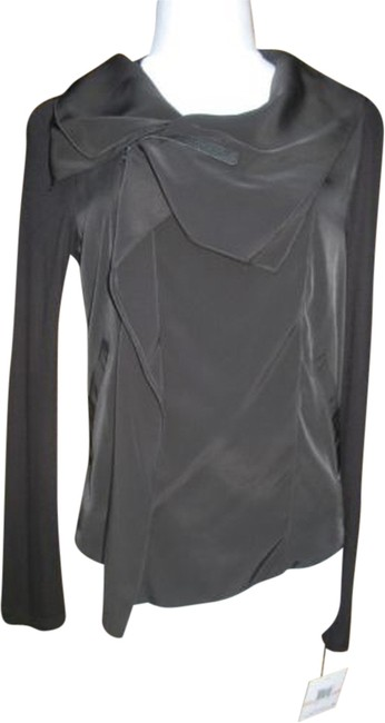 Anthracite by Muse Cascade Lightweight Asymmetrical Zip Front Black Jacket
