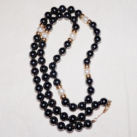 Other Vintage 14K Gold Spacer Hematite & Genuine Pearl Knotted Bead Necklace