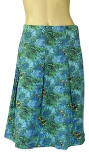 Talbots Pleated Stretch Floral Skirt Green