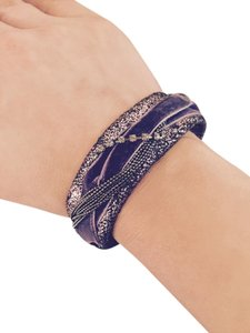 Laundry by Shelli Segal Rob purple velvet and cracked pewter leather bracelet