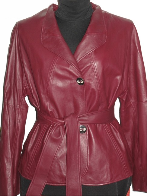 Escada Burgundy Leather Jacket