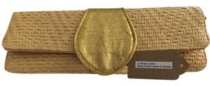 JJ Winters Wristlet Foldover Horizontal Gold Leather Straw Clutch