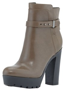 """Pour La Victoire 1"""" Platform. 5"""" Block Heel. Ankle Strap With Prong Closure. Lugged Sole. Olive Boots"""